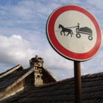 horse and cart caution